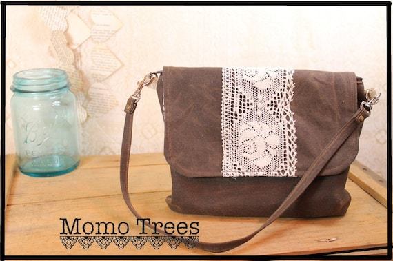 Women's Shoulder Bag & Wristlet in One -Boho Chic- Chestnut Brown - Rose Lace