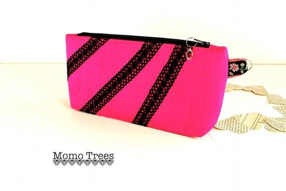 Clutch, Purse, Handbag, Handmade Silk Ladies Bag, Hot Pink, Vintage Inspired, by MomoTrees on Etsy