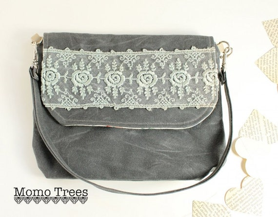 Lace Women's Handbag- Shoulder Bag to Wristlet - Grey Waxed Canvas Detailed with Vintage Lace - Steel Blue