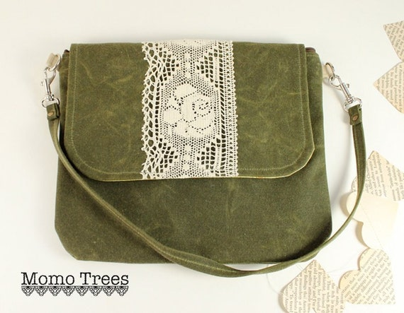 Waxed Canvas Shoulder Bag & Wristlet in One -Boho Chic- Hunter Green - Rose Lace