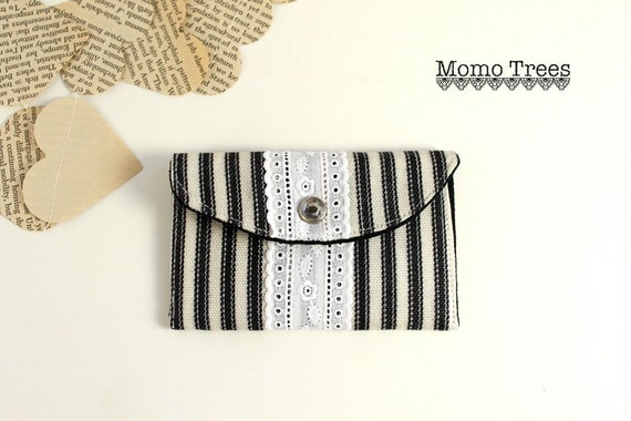 Mini Wallet Card Holder- Women's Fabric Credit Card Wallet- Black and White Ticking- Lace- Rhinestone