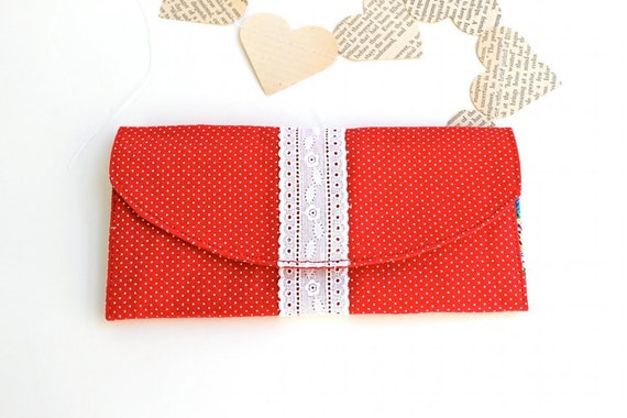 Women's Wallet - Credit Card Wallet - Red and White - Lace
