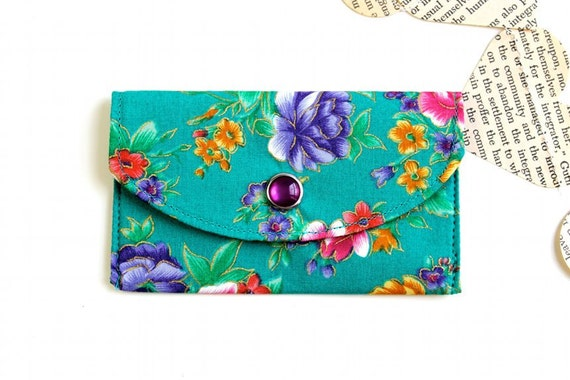 Fabric Credit Card Wallet - Women's Wallet -  Aqua background with Flowers accented in gold
