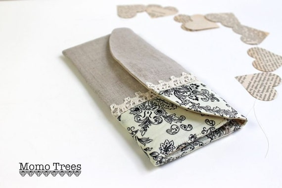 Women's Credit Card Wallet - Natural Linen and Lace