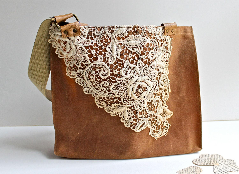 Waxed Canvas Lace Tote Bag Women S Shoulder Bag Vintage