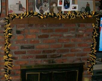 Handmade Black and Gold Fabric Lighted Garland - Game Day, School Spirit, Dorm Decor