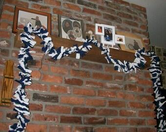 Dark Blue and White Garland with Lights - Handmade in Pennsylvania - School Spirit, Game Day, Hanukkah Decor
