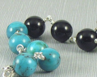 Onyx and Turquoise Bracelet, Blue and Black Bracelet, Wirewrapped Bracelet, Beaded Bracelet, Sterling Silver and Bead Bracelet
