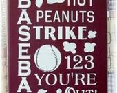 Baseball Typography wood sign
