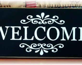 Welcome primitive wood sign