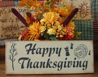 Happy Thanksgiving primitive wood sign