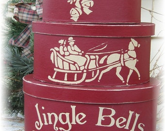 Jingle Bells Sleigh Company primitive stacking boxes for Christmas
