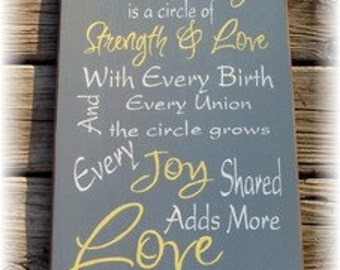 Our family is a circle of strength and love typography sign