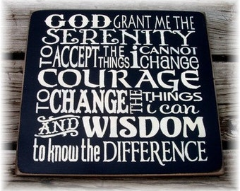 God grant me the serenity... typography wood sign