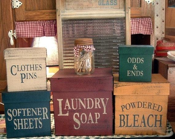 Laundry Room square primitive Shaker Boxes 5 piece set