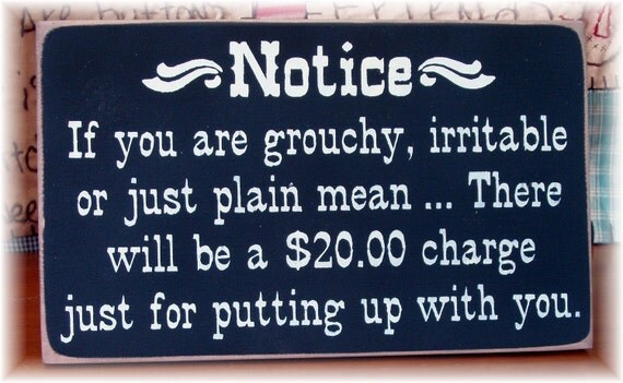 NOTICE if you are grouchy irritable or just plain mean there will be a 20.0 charge just for putting up with you primitive wood sign