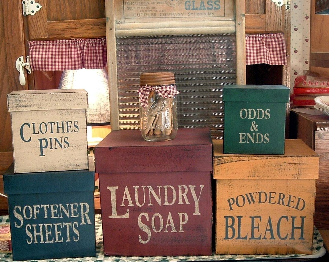 Laundry Room square primitive Shaker Boxes 5 by woodsignsbypatti