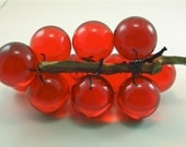 CLEARANCE SALE Vintage Grapes Red Lucite Sculpture Decoration on Wood Mid Century