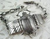 Egyptian Scarab Beetle Bracelet S/P OX