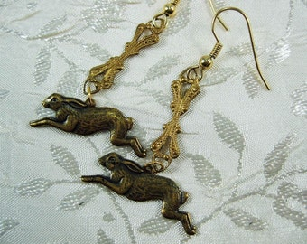 Bunny Earrings Running Rabbits Earrings