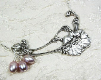 Poppy and Pearls Art Nouveau Necklace