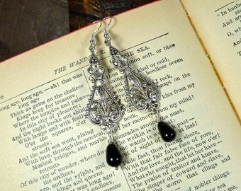 Medium Black and Silver Flourishes Earrings