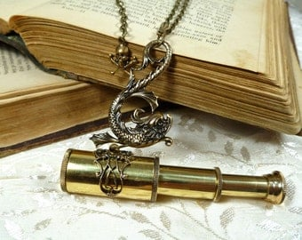 Dolphin Spyglass Telescope Necklace Brass