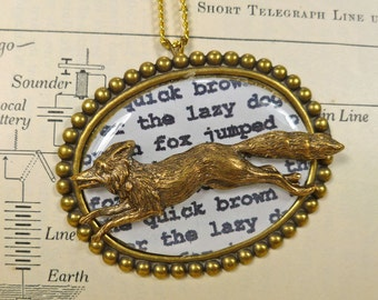 Animal Jewelry Quick Brown Fox Typing Test Necklace Detailed Brass Running Across Brass Framed Print to Jump the Lazy  Dogs for Your Writer!
