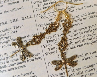 Tiny Art Deco Brass Dragonfly Earrings