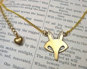 Animal Jewelry Fox Necklace. Petite Fox Face on a Thin Gold-Plated Chain, Subtle and Dainty with a Puffy Heart Charm on the Extender Chain