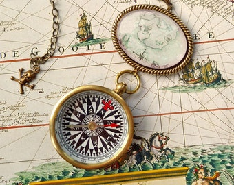 Brass Compass Pirate Necklace Treasure Map