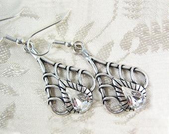 Art Deco Earrings Crystal Teardrop