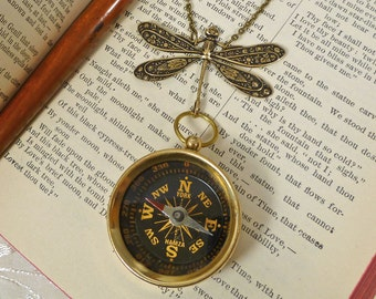 Brass Compass Art Deco Dragonfly Necklace