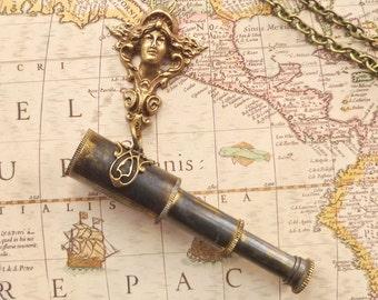 Art Nouveau Valkyrie Telescope Spyglass Necklace Aged Brass