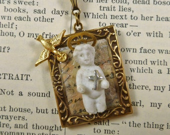 Spiritual Jewelry Mixed Media Art Necklace Shrine Christian Saint