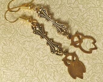 Asymmetrical Earrings Owl Earrings Brass Ox Owls jewelry