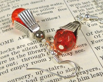 Citrus Orange Earings Tangerine Tango Earrings Crystal and Silver orange jewelry