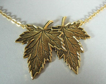 Leaf Jewelry Double Leaf Necklace