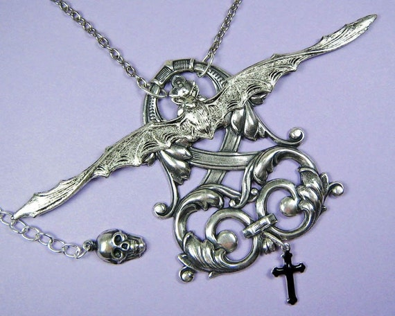 Gothic Jewelry Vampire Coat of Arms Bat Necklace