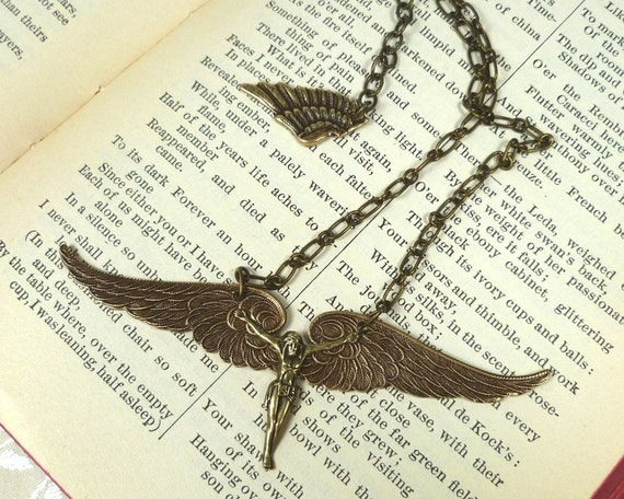 Icarus Flying Brass Necklace