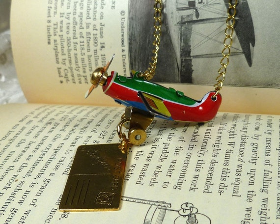 Air Mail Tin Toy Airplane Necklace I Love You