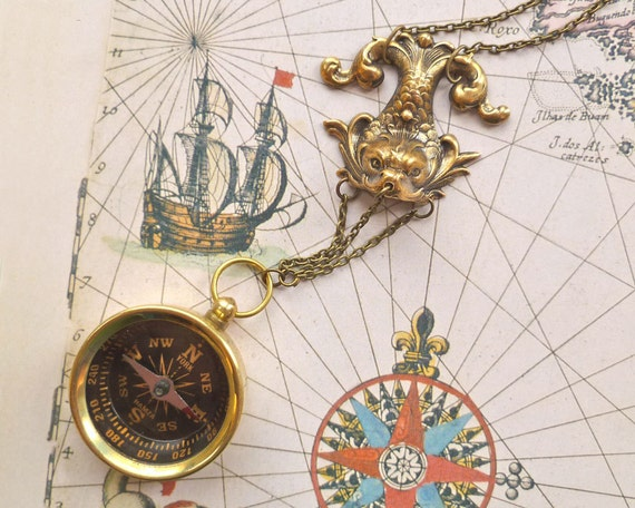 Brass Compass Sea Serpent Necklace Functional