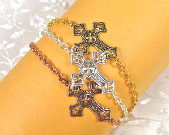 Sideways Cross Bracelet Gothic Goth Cross Silver Brass Copper
