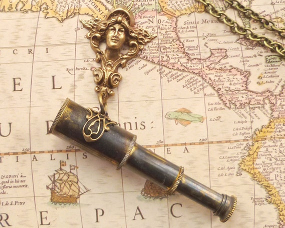 Art Nouveau Valkyrie Telescope Spyglass Necklace Aged Brass