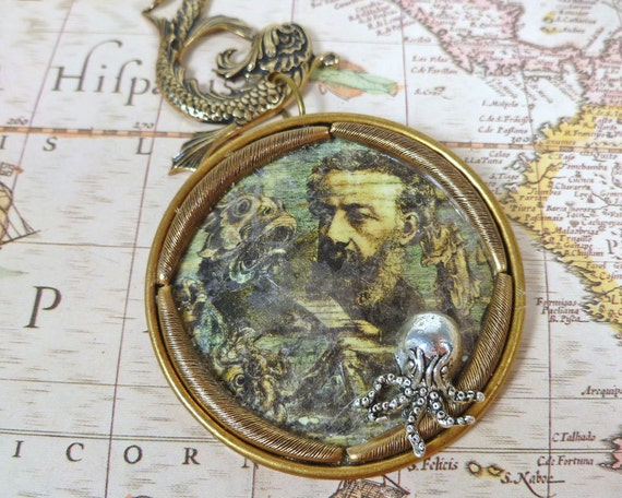 Ode to Jules Verne Pendant Father of Steampunk Necklace