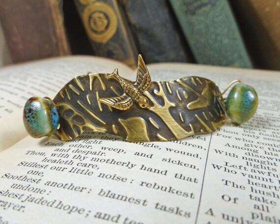 Freeform Embossed Bird Bracelet OOAK Brass and Turquoise sparrow