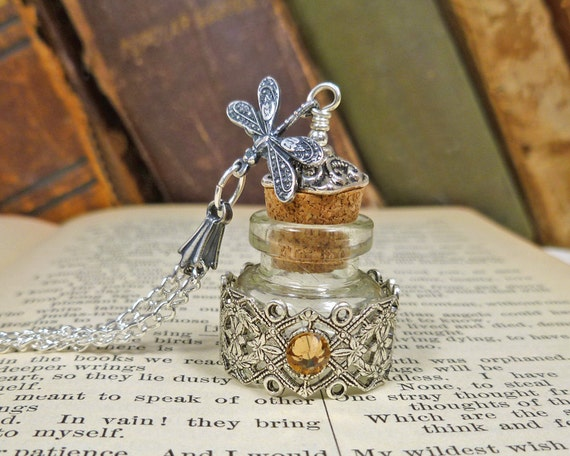 Pretty Poison Bottle Necklace silver dragonfly