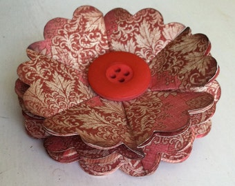 Hand Created PAPER FLOWER Pin with Vintage Button