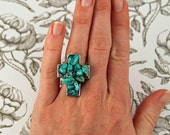 Cowgirl Turquoise Cross Cocktail Ring