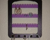 Earring Rack Organizer with 5 pegs BLACK and LAVENDER Wall Hanging